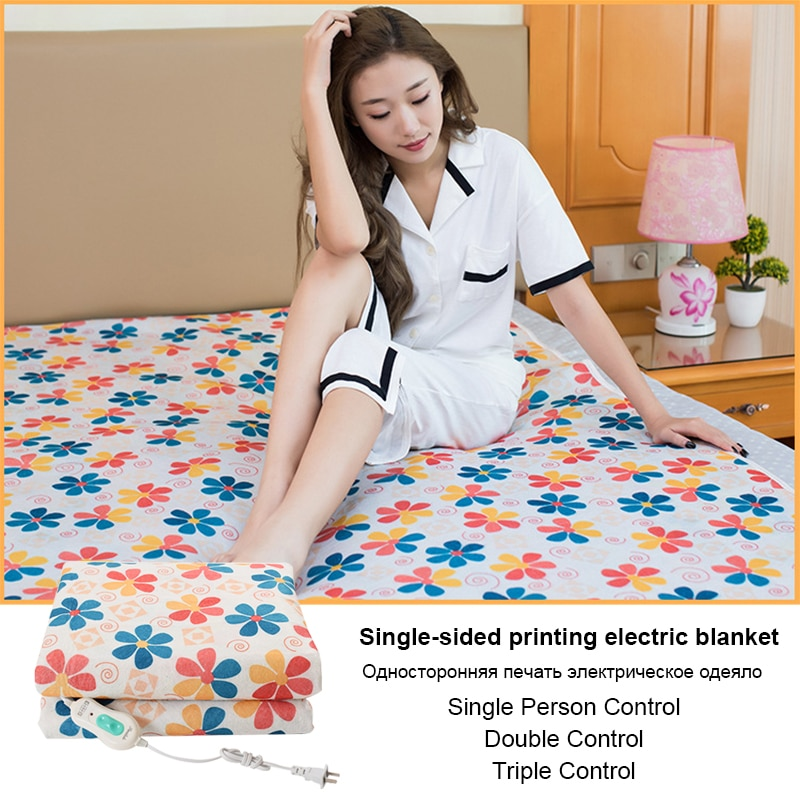 220v Electric Heating Blanket Double Body Single Printed Manta Electrica Blankets Carpet Household Bed Warmer Heated Pad Winter
