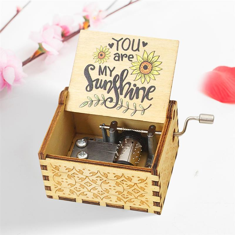 Music Box You Are My Sunshine Hand Crank Wooden Vintage Musical for Birthday Christmas Valentines Day