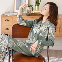 pure cotton long sleeve thin cardigan loose pajamas women autumn winter plus size middle aged mother home clothes suit