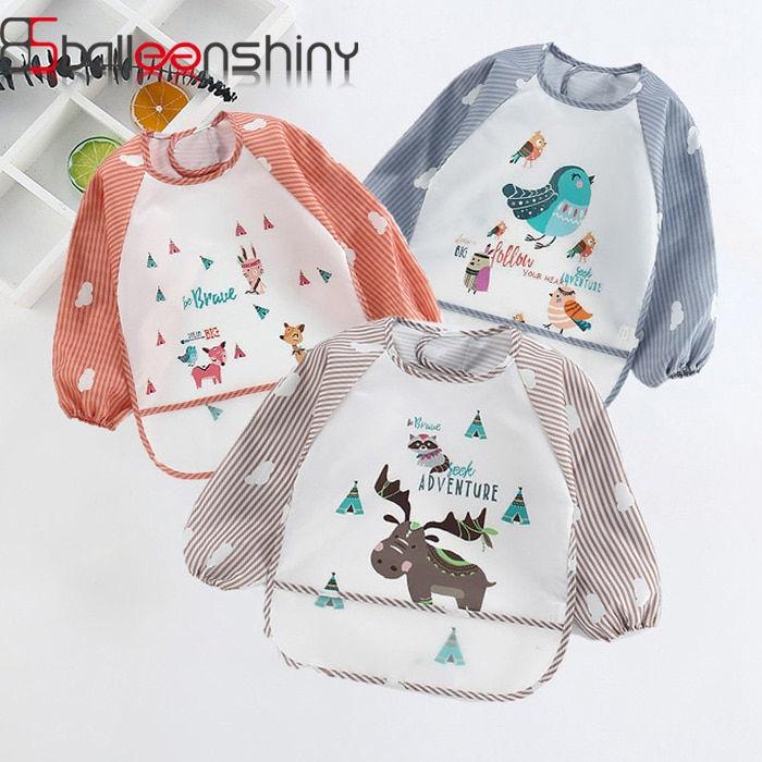BalleenShiny Baberos adorables para bebé impermeables animales de dibujos animados babero infantil de manga larga niños delantal Baberos para comer Batas para bebé 0-3 y