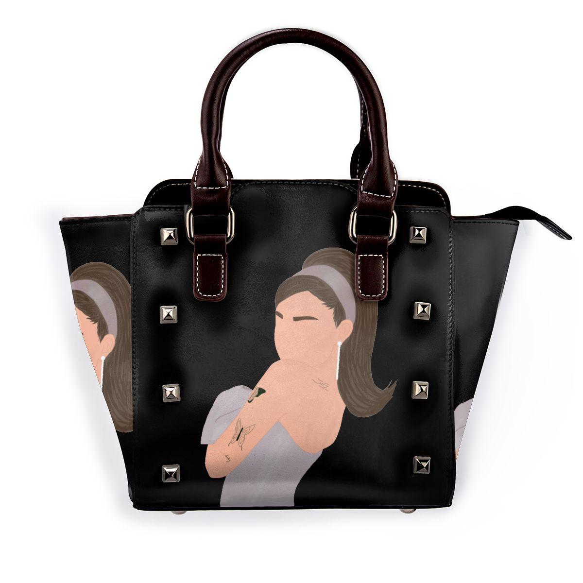 حقيبة كتف أريانا غراندي جرافيك موضة Harajuku حقيبة يد نسائية سائبة حقائب سفر جلدية مضحكة