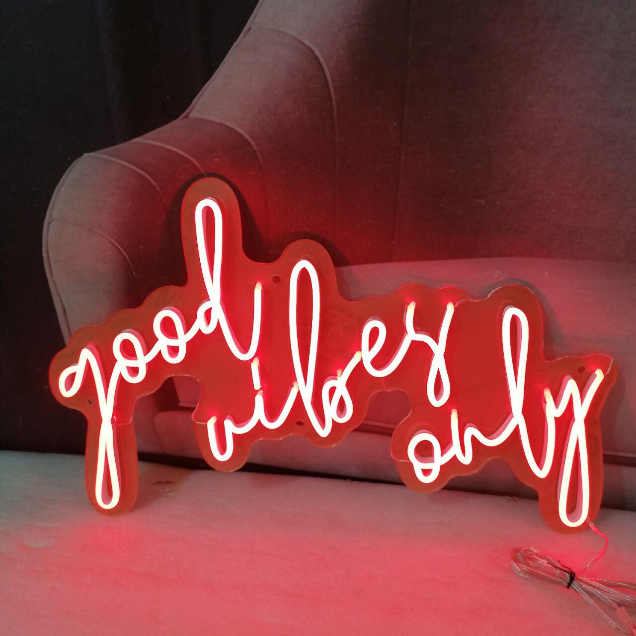 Personalized Custom Commercial Neon Sign Light Good Vibes Only Ins Wall Hanging Decor for Room Bar Cafe Party Decorative Light enlarge