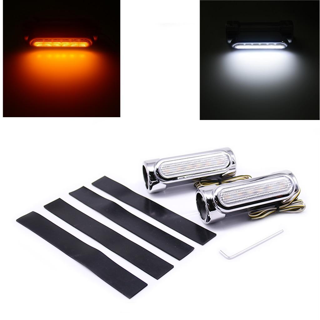 2 uds Street Glide LED Engine Guard luces Blanco/ámbar 1,25 pulgadas Highway Bar Swichback Drving luces para Harley