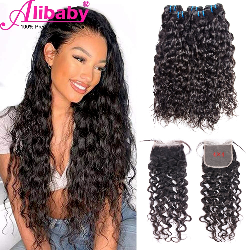 Brazilian Water Wave Bundle With Closure Wet And Wavy Beauty Human Hair Natural Black 3 4 Bundles With 4x4 Free Part Hair Weave