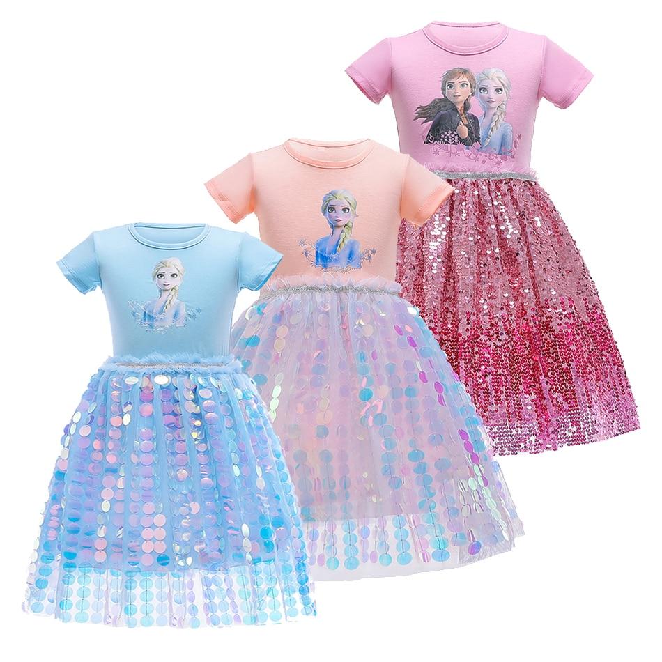 Vestido de verano de lentejuelas para niñas, disfraz de Frozen, Anna, Elsa