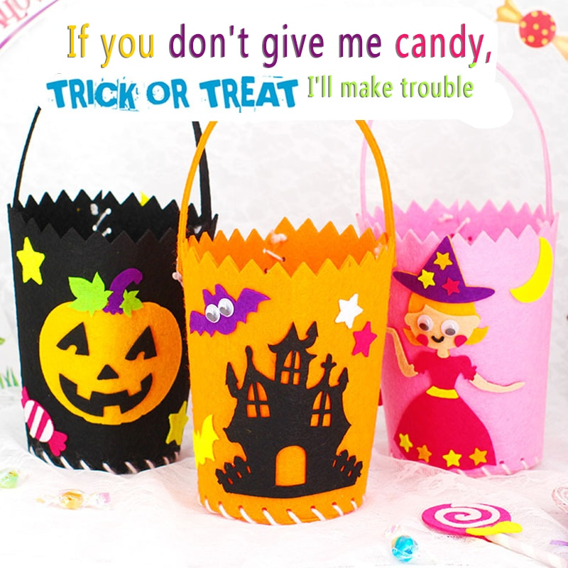 Ручная работа, материал, посылка, конфеты, корзина, реквизит, Хэллоуин, сделай сам, сумка для Гуди, дети, переносят тыквенные мешки, детский са...