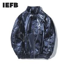 IEFB /2020 nouvelle mode automne veste hommes brillant chaîne en cuir Locomotive manteau en vrac décontracté marée mâle haute rue 9A490