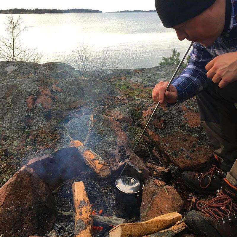 Soplador del fuego de la pipa plegable/retráctil de acero inoxidable del tubo de soplado Campfire herramienta de fuelle para Camping herramientas al aire libre