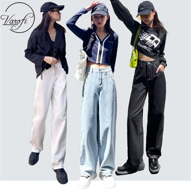 Новинка, джинсы Varofi с высокой талией, свободные джинсы, узкие джинсы с широкими штанинами, укороченные джинсы, женские джинсы, синие, черные, ...