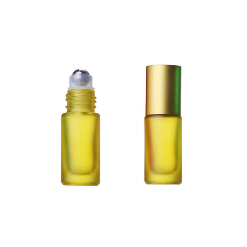 1/5/10pcs Portable Travel Essential Oil Perfume Bottles Roller Refillable Frosted Colorful Roller Ball 5ml Thick Glass Bottle