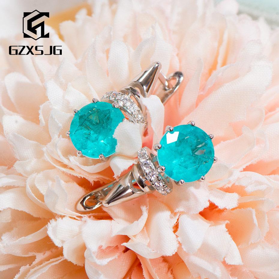 GZXSJG, Paraiba, turmalina, gemas, pendientes de Clip para mujer, sólida plata 925, turmalina azul, pendientes para aniversario
