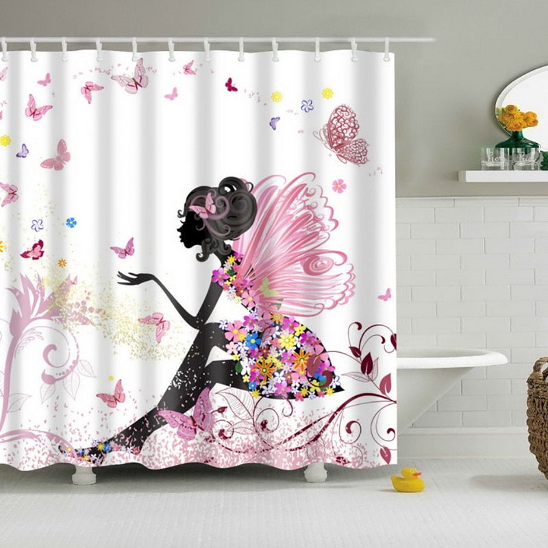 Cortinas de ducha para baño, cortina de ducha de sombra para mujer, impermeable, tela de poliéster, ganchos personalizados para cortina de baño AA