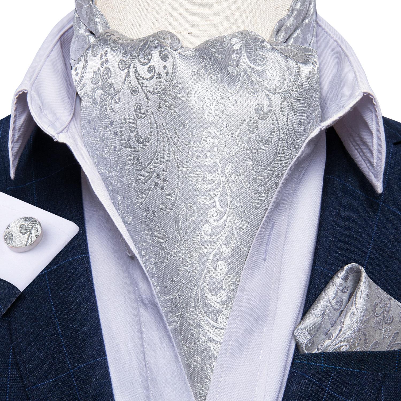 Luxury Men's Ascot Silver Floral Silk Necktie Cravat Pocket Square Cufflinks Set Wedding Party British Style Ascot Tie DiBanGu ботинки front by ascot front by ascot fr009amcjuc5