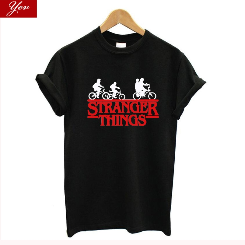 Funny Design Two-worlds womens T-shirt 100% Cotton summer Tee shirt Hip Hop Streetwear Stranger Things T shirt women clothes
