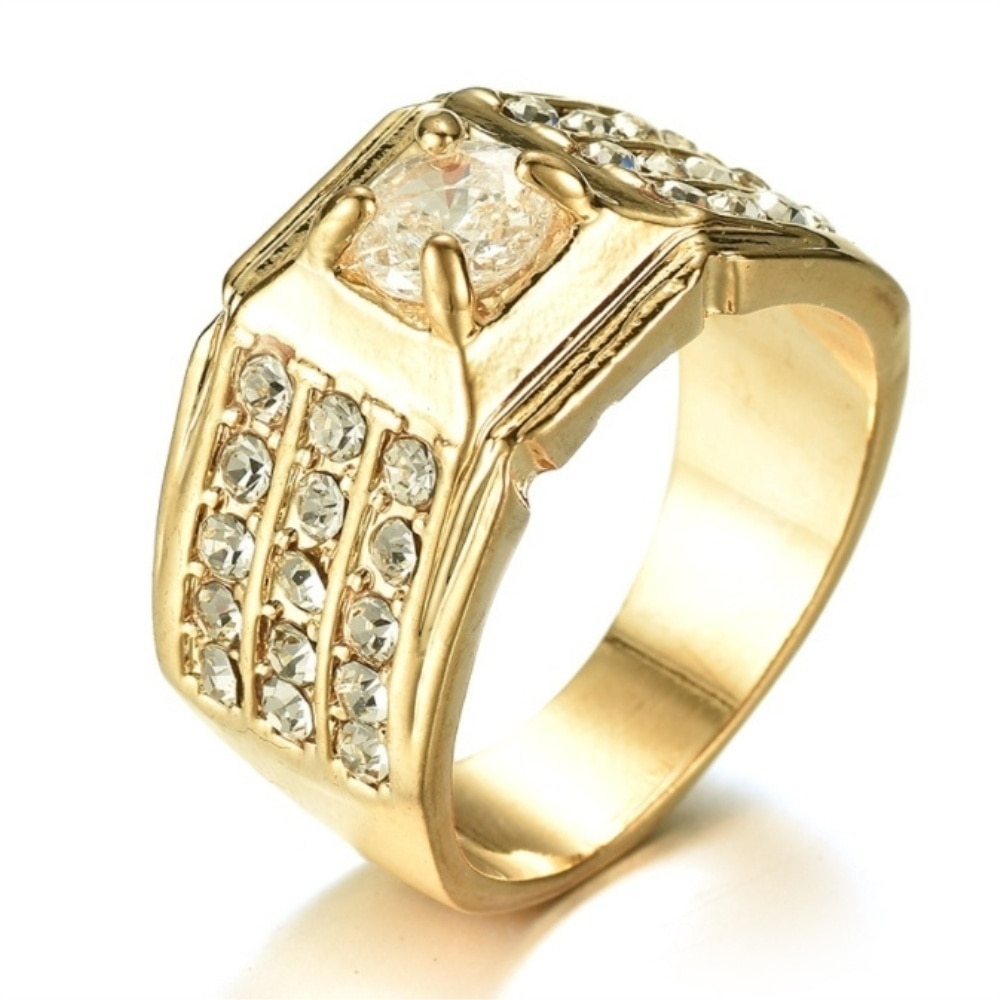 New Arrival Fashion Men Rings Cubic Zirconia Inlay Rings Wedding Engagement Bands Anniversary Christmas Gift Jewelry