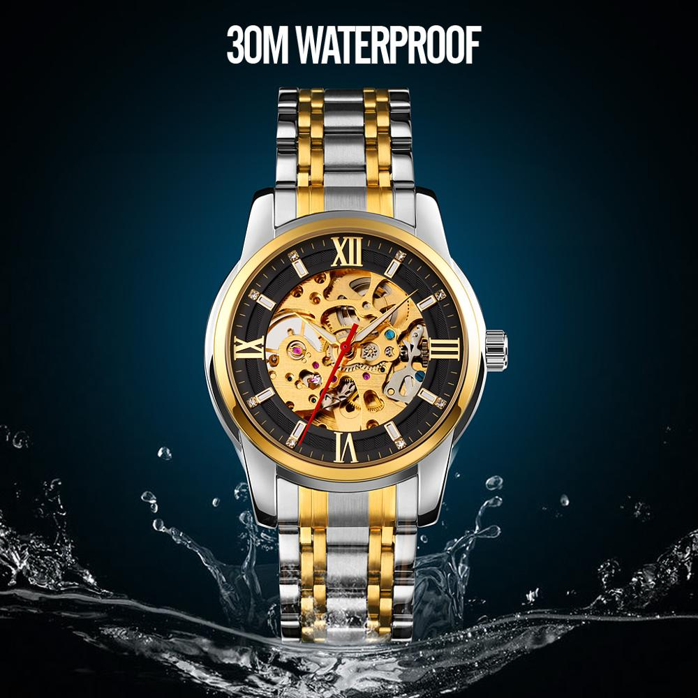 SKMEI Fashion Luxury Gold Mechanical Watch Brand Automatic Mechanical Watch Men ClockBusiness Men's Wristwatch Stainless Steel
