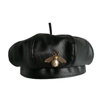 vintage brand bee brand fashion black pu leather beret hat women cap female ladies beanie beret girls for spring and autumn