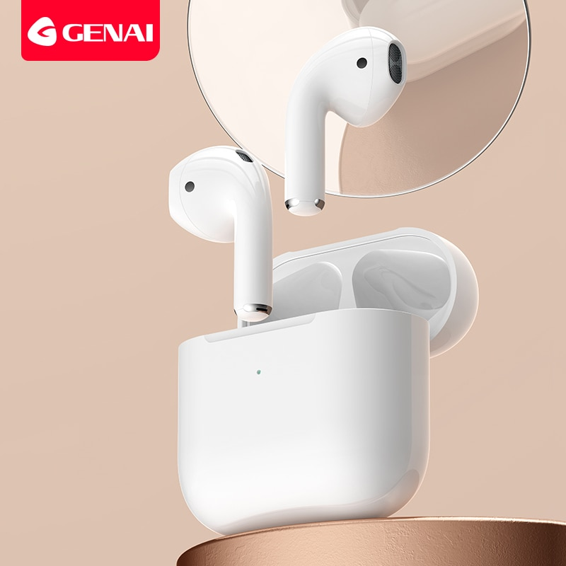 Genai True سماعة لاسلكية تعمل بالبلوتوث سماعات جديدة TWS سماعات صغيرة داخل الأذن سماعة الألعاب واقي أذن رياضي مقاوم للماء مع ميكروفونات