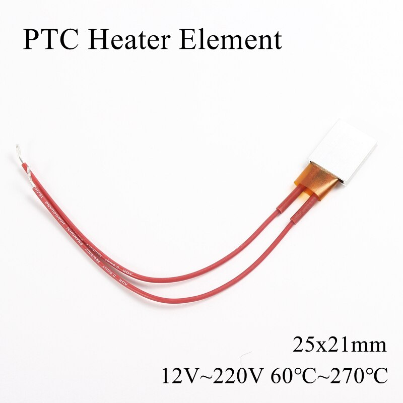 25x21mm 12V 24V 36V 48V 110V 220V PTC Heater Element Constant Thermostat Thermistor Air Heating Sensor Aluminum Shell 25*21mm