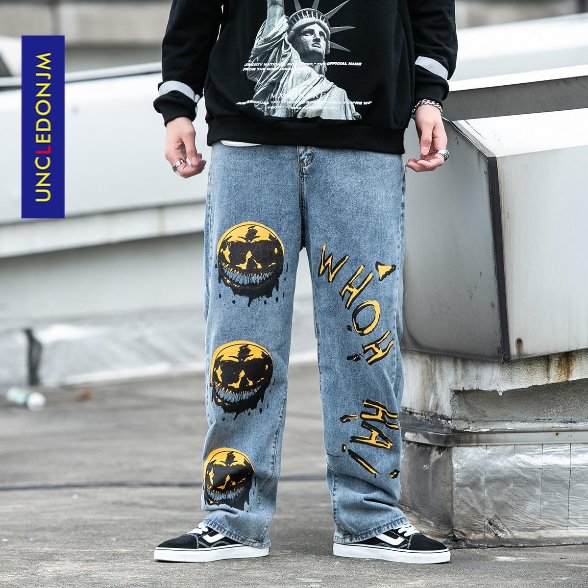 UNCLEDONJM 2020, ropa de calle para hombres, pantalones vaqueros holgados con dibujo grafiti negro, pantalones vaqueros Vintage, pantalones para correr Harajuku 7013