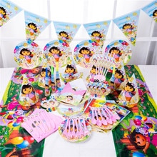 Dora the Explorer Theme Kids Disposable Tableware Birthday Party Decoration Tablecloth Paper Cups Pl