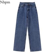 Nbpm New 2021 Fashion Washed Bottom Wide Leg Jeans Woman High Waist Denim Trousers Pants Femme Stree