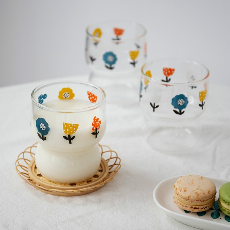 الكورية نمط الزجاج المياه الحليب كوب الحرارة مقاومة لطيف الزجاج كوب بسيطة صغيرة السفر Copas دي فينو المطبخ الطعام بار EB5BL