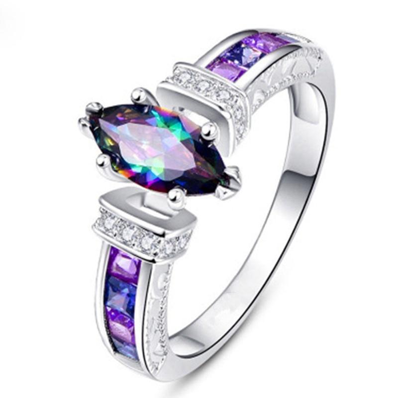 Anillo de zirconio ovalado colorido de diseño único para mujer, moda Arco Iris AAA zirconio cúbico, anillos fiesta boda, anillo nupcial, joyería