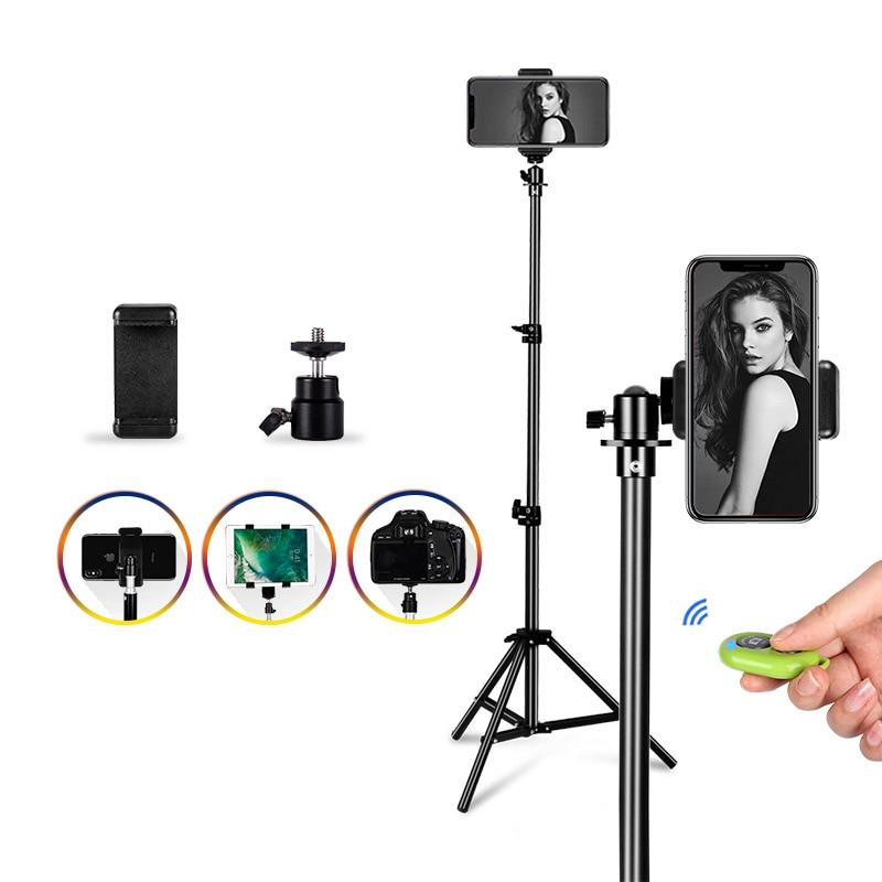 Trípode de aluminio portátil Universal soporte de montaje cámara Digital trípode para Selfie para teléfono flash foto