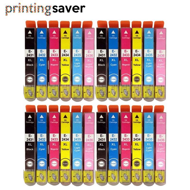 24 Uds 24XL cartucho de tinta T2431 T2432 T2433 T2434 T2435 T2436 para ESpon XP-750 XP-850 XP-950 XP-860 XP-55 XP-760 XP-960 impresora