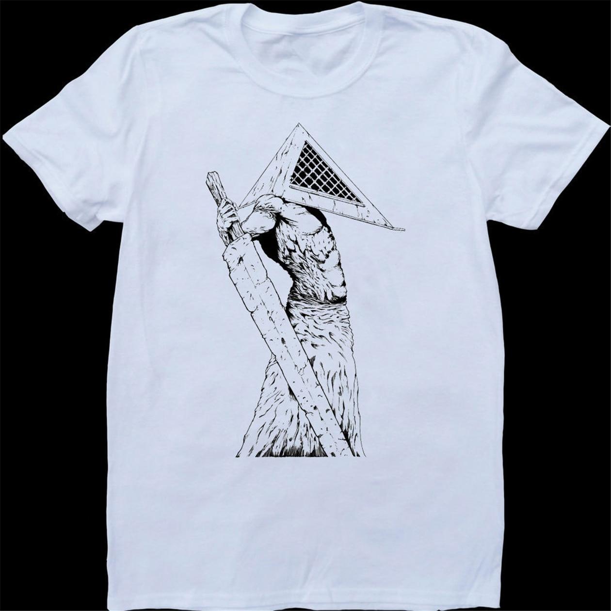 Camiseta de algodón, camiseta personalizada, Camiseta de algodón, informal, silencioso, piramidal, blanco