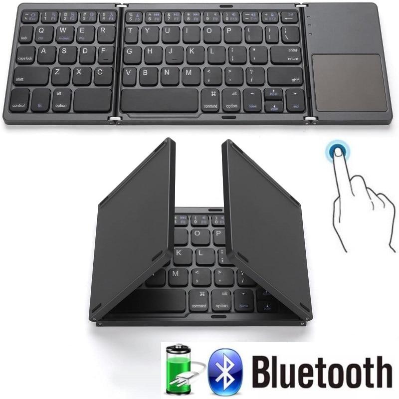 الذكية للطي 64 مفاتيح مكتب لوحة المفاتيح بلوتوث اللاسلكية قابلة للشحن لوحة المفاتيح مع لوحة اللمس للكمبيوتر أندرويد Ios اللوحي باد الهاتف