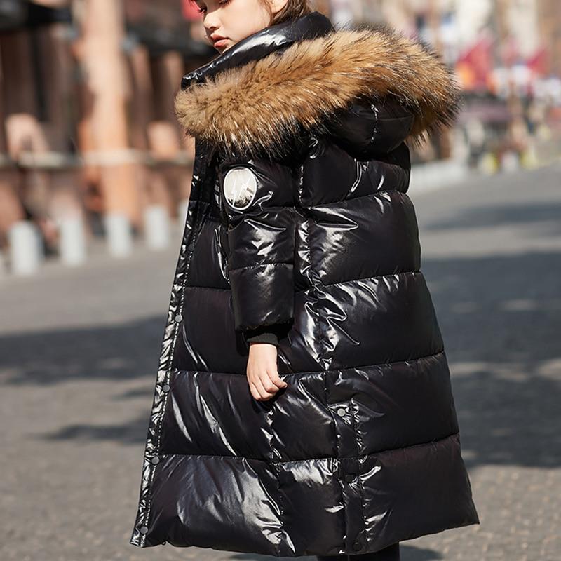 HSSCZL Boy Girls white duck down jacket 2021new winter thicken long style big fur callar overcoat outerwear children clothes enlarge
