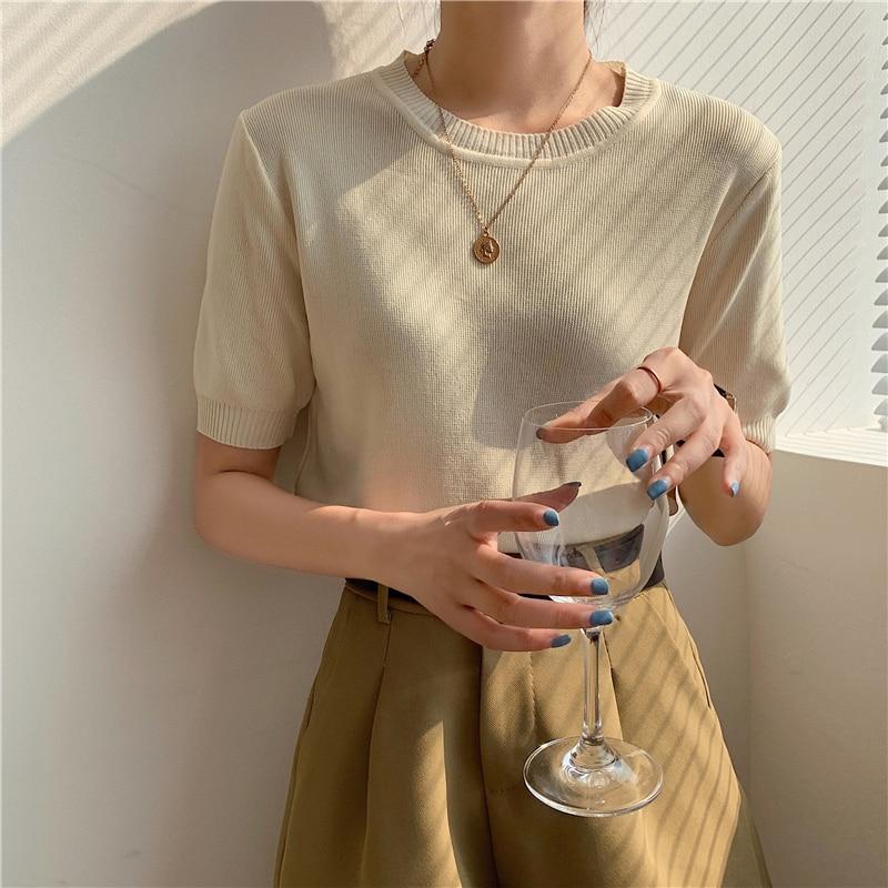 CMAZ Fashion Half Sleeve T-shirt Women 2021 New Summer Office Lady Sweater Stretch Knitted Tshirt So
