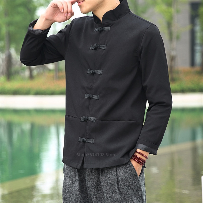 Chino tradicional ropa para hombres 2020 Vintage uniforme de kungfú Wu Tang Clan Hanfu chino camisas de lino superior, completo Blusa de manga