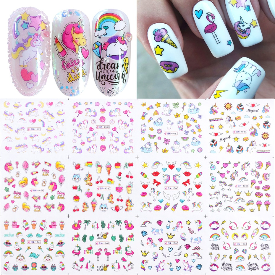 12 Uds. Pegatinas de uñas bonitas letras de dibujos animados Sliders uñas arte transferencia de agua pegatinas decoraciones de manicura láminas tatuaje TRBN1057-1068