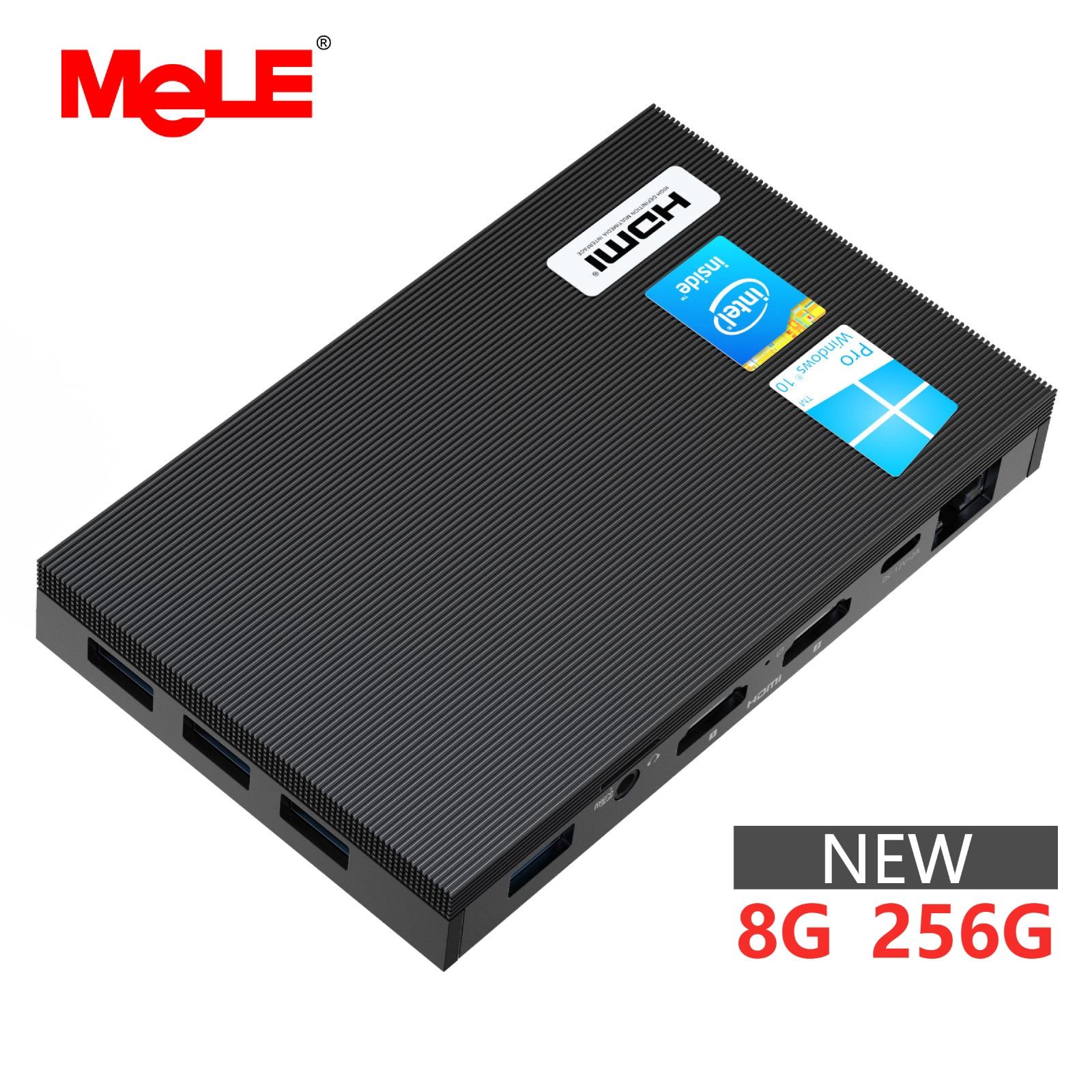 MeLE بدون مروحة 4K جهاز كمبيوتر صغير إنتل سيليرون J4125 رباعية النواة 8GB 256GB ويندوز 10 كمبيوتر مكتبي مزدوج HDMI 2.4G/5G ثنائي النطاق واي فاي SSD