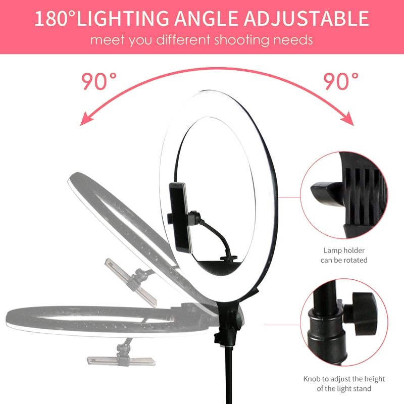 WalkingWay 18 inch LED Ring Light with Tripod Dimmable Photographic Lighting Studio Video light  for tik tok Makeup Youtube Live enlarge