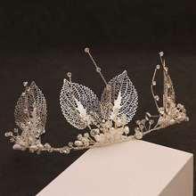 Tocado de novia, adornos de decoración, tocado de hojas hecho a mano, accesorios