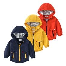 Boys Spring Autumn Coats Kids Jackets Toddler Hooded Windbreaker With Pocket Children Zipper Outerwe