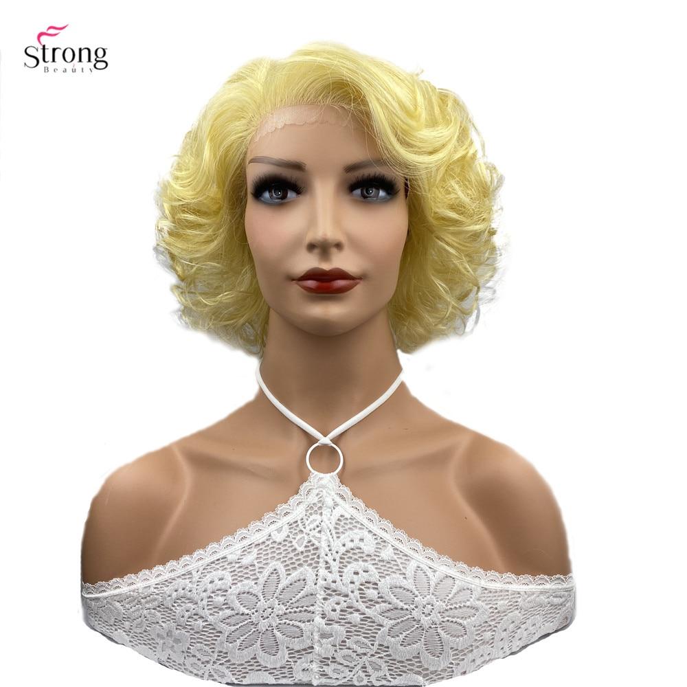 قوية الجمال الاصطناعية الجبهة الباروكة شعر أشقر قصير مجعد الباروكات الطبيعية للنساء