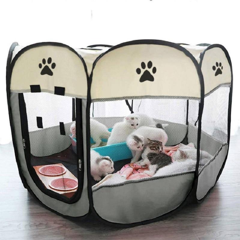 Carpa plegable portátil para perro y gato cachorro, jaula, casa, corralito interior...