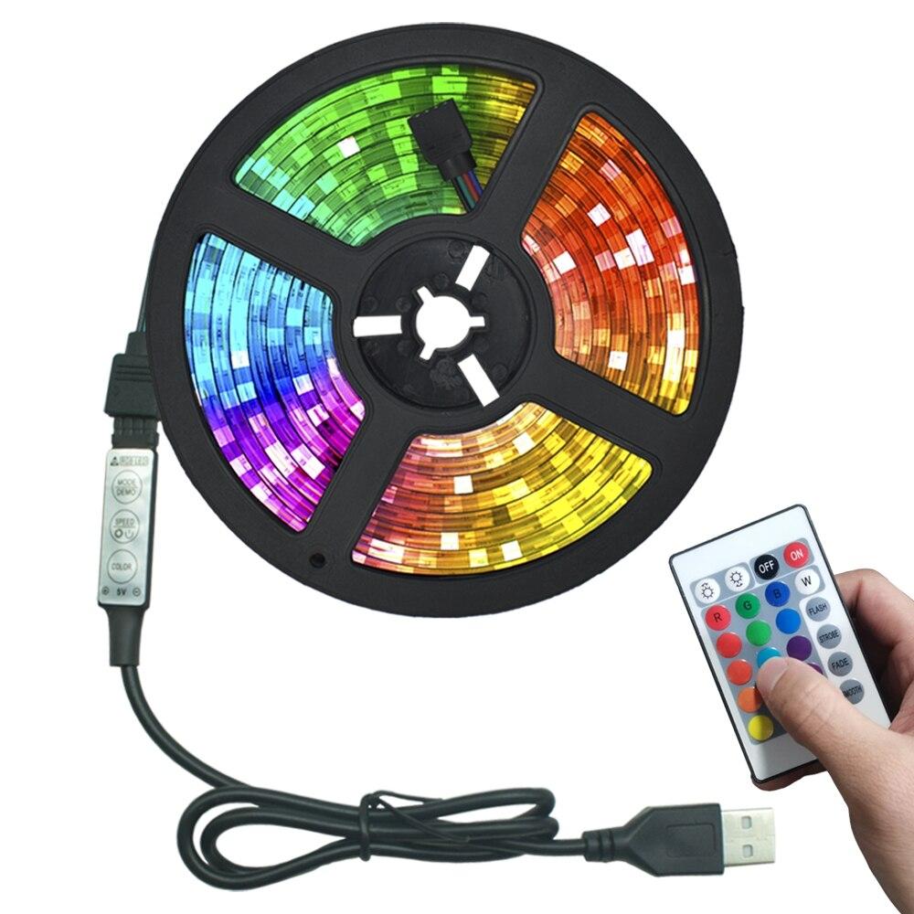 LED أضواء شرائط USB الأشعة تحت الحمراء ملون للتحكم SMD2835 DC5V 1M 2M 3M 4M 5M مرنة مصباح الشريط ديود التلفزيون إضاءة خلفية وسيس LED