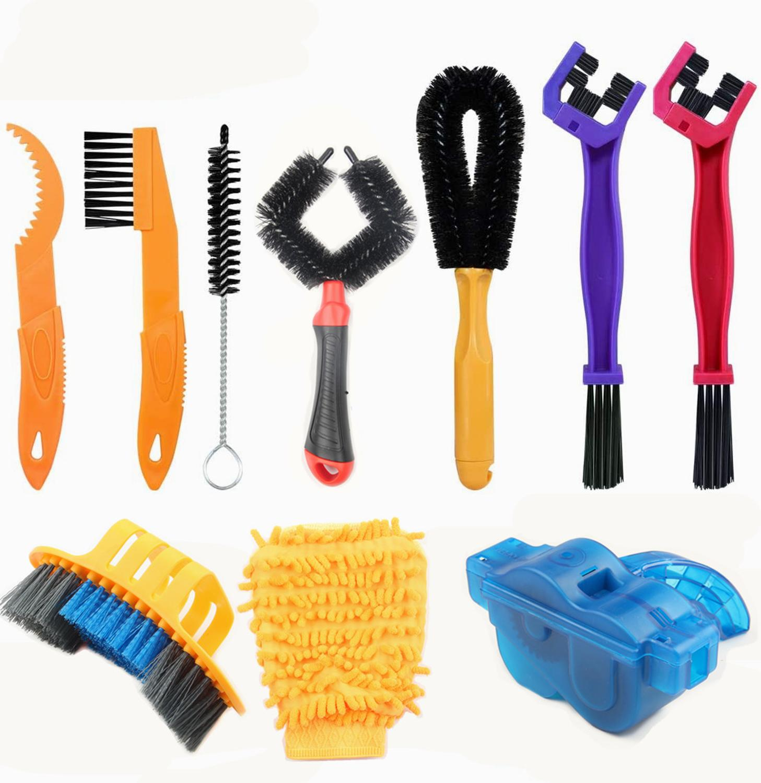 10 Uds. Por set, limpiador de cadena de bicicleta, cepillo portátil para bicicleta, herramienta de lavado, Kit de limpieza para bicicleta MTB, herramientas de mantenimiento para bicicleta