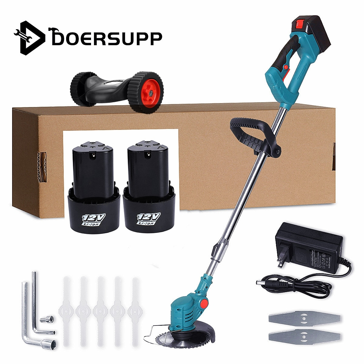 With 2/1 Battery&Wheels Electric Grass Trimmer 1500W Garden Lawn Mower Rechargeable Cordless Grass Pruning Tool Machine