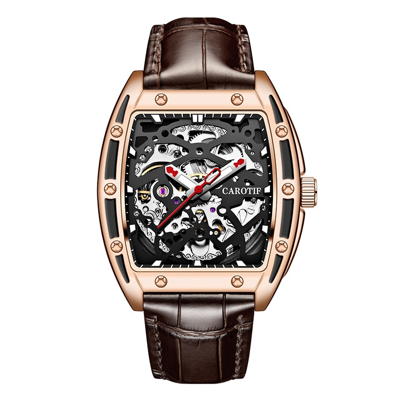 Hot style square man fully automatic mechanical watch hollow out waterproof leather strap watch male fashion wrist watch hollow out faux leather watch