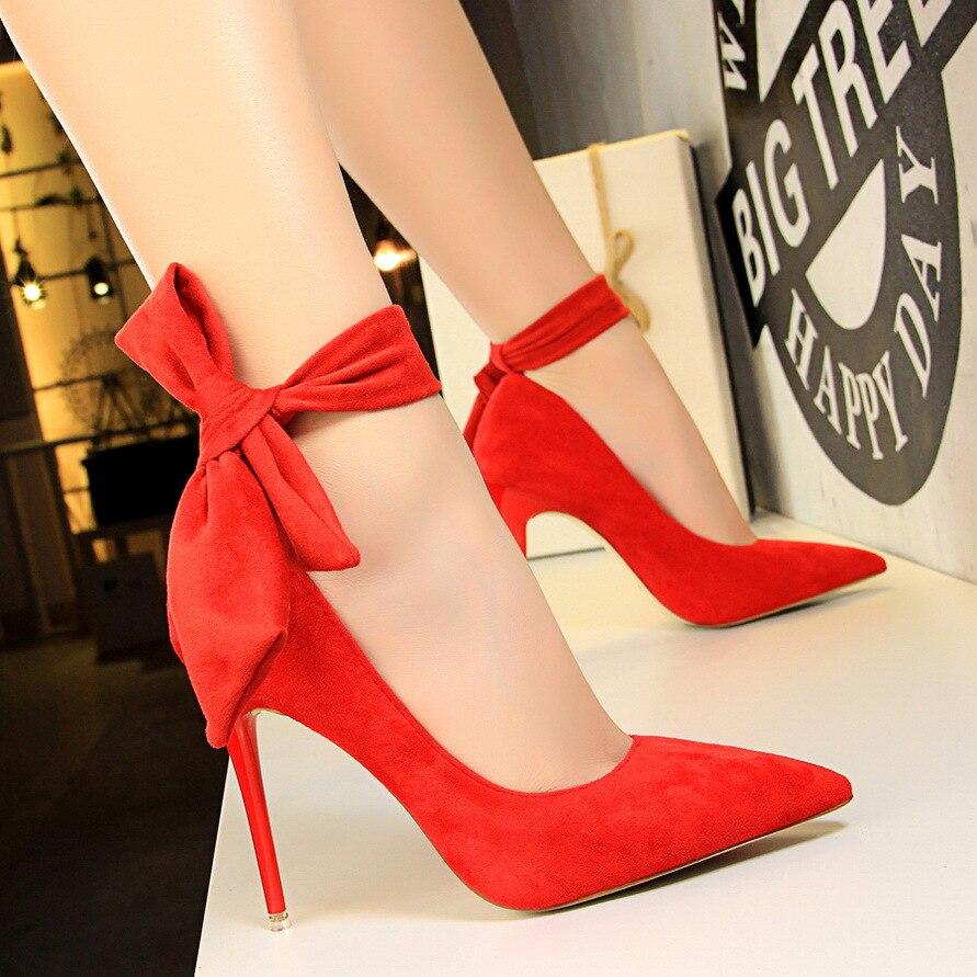 Estilo europeu e americano super salto alto stiletto simples camurça boca rasa palavra pontiaguda com arco único sapatos de salto alto