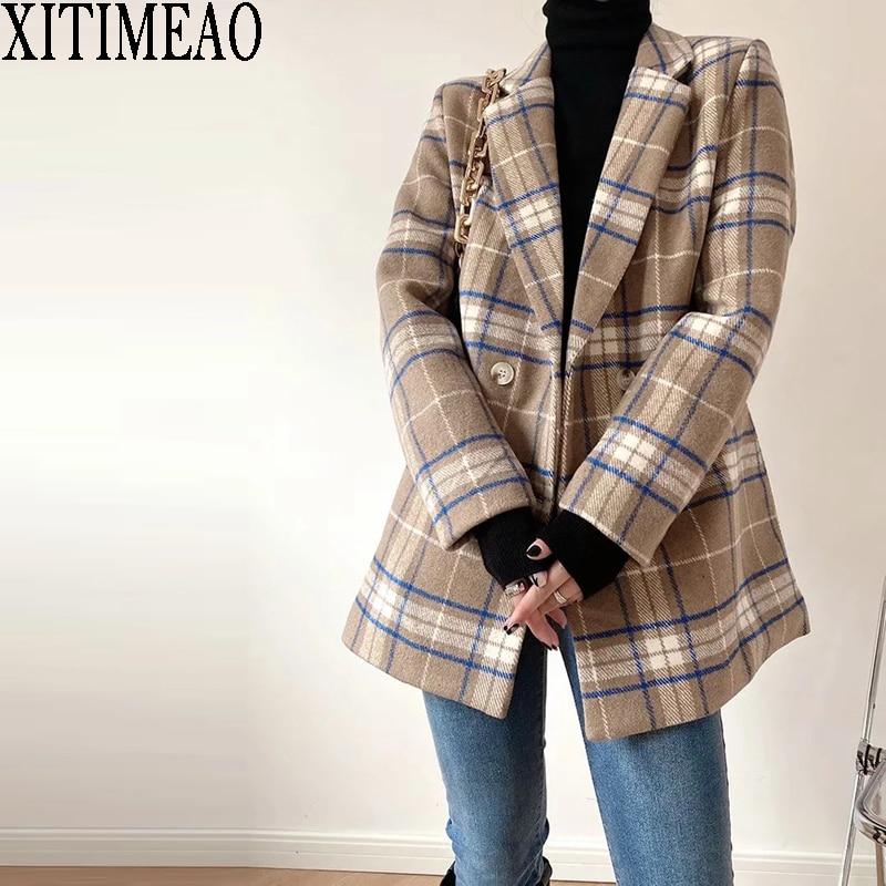 XITIMEAO-معطف مكتب نسائي من الصوف ، جاكيت غير رسمي ، منقوش ، نحيف ، بدلة مزدوجة الصدر ، سميك