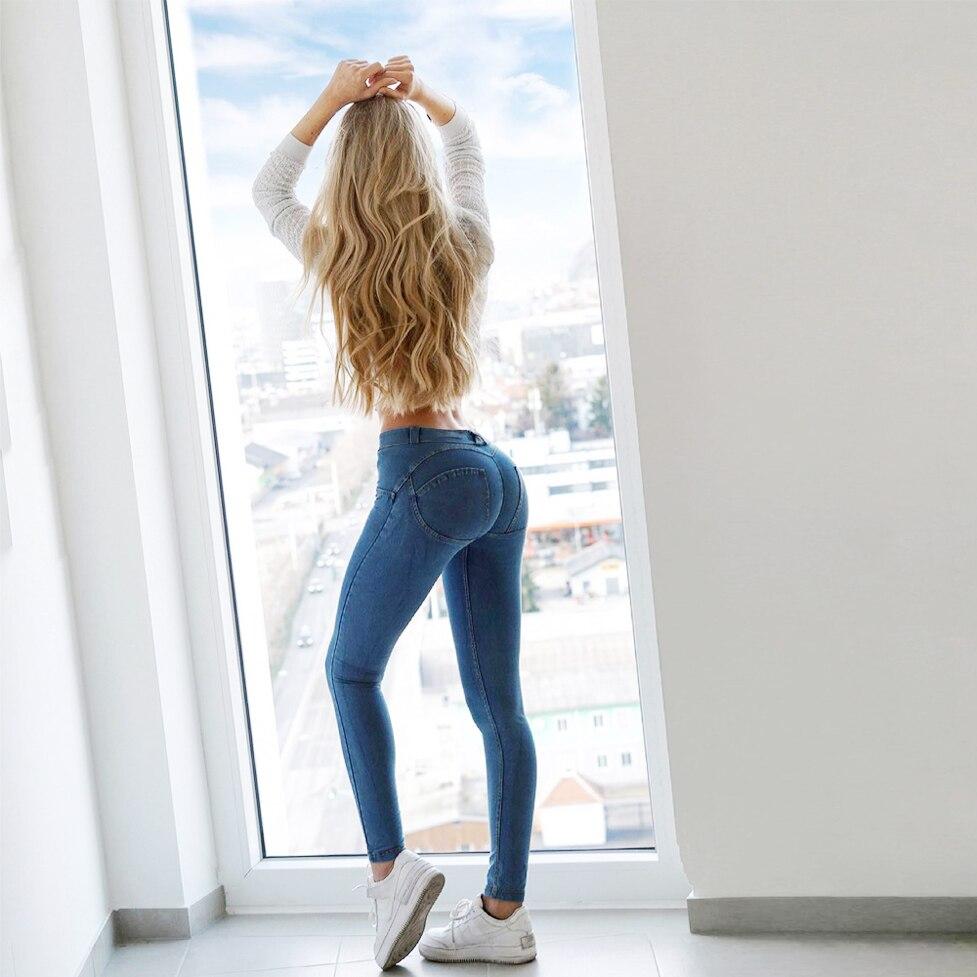 ميلودي-بنطلون جينز أزرق للنساء ، مرن للغاية ، نحيف ، غير رسمي ، عصري ، جينز
