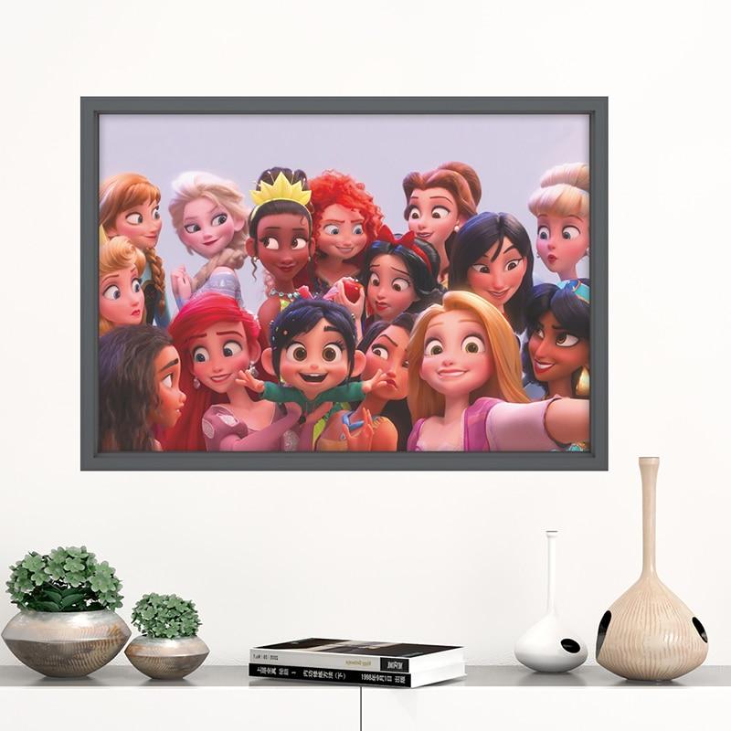 Disney Cinderalle Elsa Rapunzel Anna Belle Anime princesa pegatinas de pared decoración para el hogar, cartel de película de la habitación de los niños Mural 3D ventana calcomanías